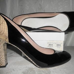 CHLOE Elaphe Black Patent / Snake Pumps 40 10